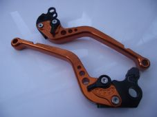 KTM 640 Supermoto CNC levers set long orange alloy & black adjusters DB12/C31